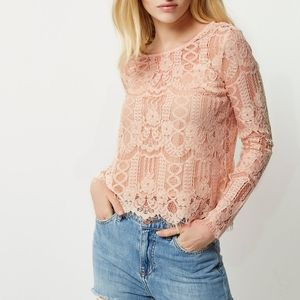Maurices Dusty Pink Lace Blouse Sz M
